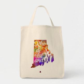 Rhode Island U.S. State in watercolor text cut Tote Bag