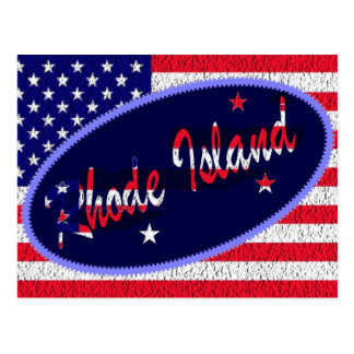 Rhode Island US flag postcard