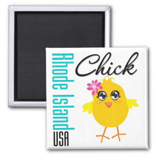 Rhode Island USA Chick 2 Inch Square Magnet