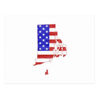 Rhode Island USA flag silhouette state map Postcard