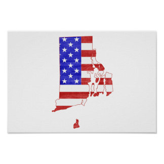 Rhode Island Usa Flag Silhouette State Map Poster