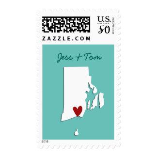 Rhode Island USA Map Customizable Wedding Stamp