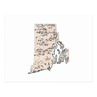 Rhode Island Vintage Picture Map Postcard