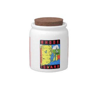 Rhode Island Vintage Retro Kitsch Decal Art Candy Jar