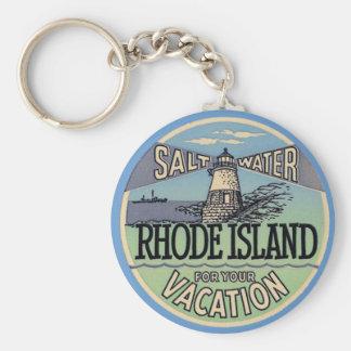 Rhode Island Vintage Travel Basic Round Button Keychain