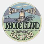 Rhode Island Vintage Travel Round Sticker
