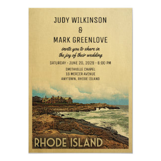 Rhode Island Wedding Invitation Vintage Retro