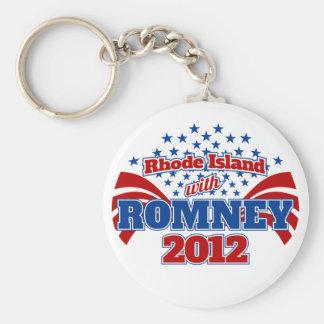 Rhode Island with Romney 2012 Basic Round Button Keychain