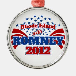 Rhode Island with Romney 2012 Metal Ornament