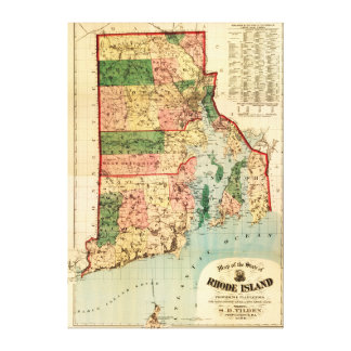 Rhode IslandPanoramic MapRhode Island Canvas Print