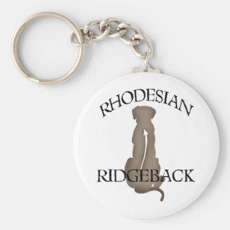Rhodesian que se sienta Ridgeback con el texto Llavero