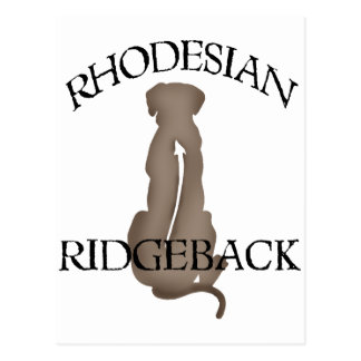 Rhodesian que se sienta Ridgeback con el texto Postal
