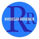 Rhodesian Ridgeback Breed Monogram Classic Round Sticker