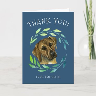 Rhodesian Ridgeback Dog with a Wreath | Thank You Holiday Card