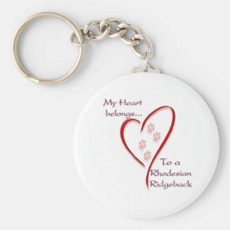 Rhodesian Ridgeback Heart Belongs Key Chain