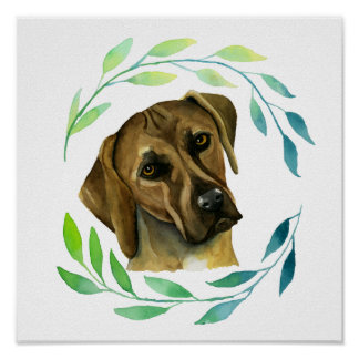Rhodesian Ridgeback with a Wreath Watercolor Poster