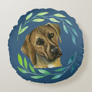 Rhodesian Ridgeback with a Wreath Watercolor Round Pillow