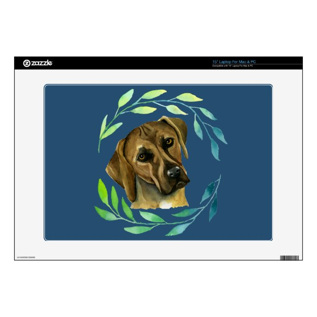 Rhodesian Ridgeback with a Wreath Watercolor