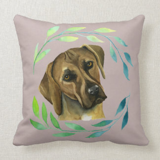 Rhodesian Ridgeback with a Wreath Watercolor Throw Pillow