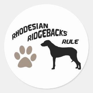 Rhodesian Ridgebacks Rule Classic Round Sticker