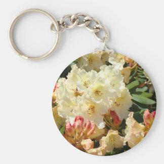 Rhodies Yellow Cream Orange Rhododendrum Flowers Basic Round Button Keychain
