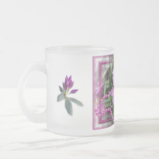 Rhododendron 2635 in rain- customize any occasion frosted glass coffee mug