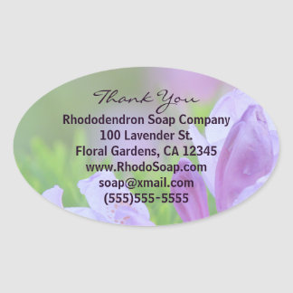 Rhododendron After the Rain Business Thank You Oval Sticker