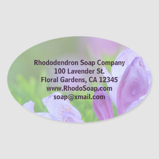 Rhododendron After the Rain Custom Business Oval Sticker