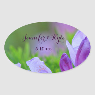 Rhododendron After the Rain Wedding Oval Sticker