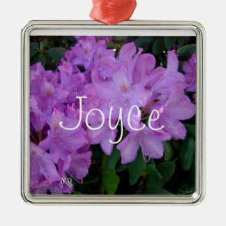 Rhododendron Necklace- personalize Square Metal Christmas Ornament