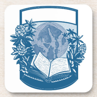 Rhododendron Orcas Island Book Woodcut Beverage Coaster