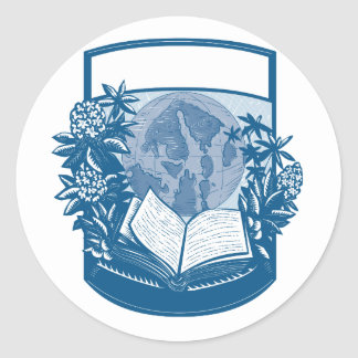 Rhododendron Orcas Island Book Woodcut Classic Round Sticker