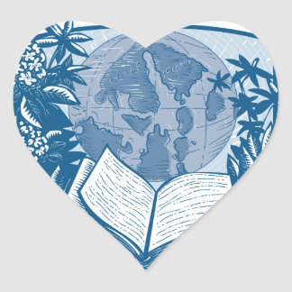 Rhododendron Orcas Island Book Woodcut Heart Sticker