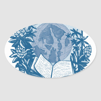 Rhododendron Orcas Island Book Woodcut Oval Sticker