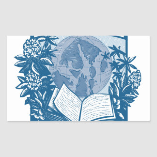 Rhododendron Orcas Island Book Woodcut Rectangular Sticker