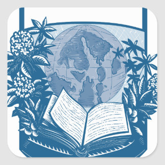 Rhododendron Orcas Island Book Woodcut Square Sticker