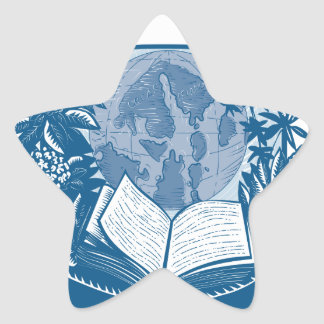 Rhododendron Orcas Island Book Woodcut Star Sticker