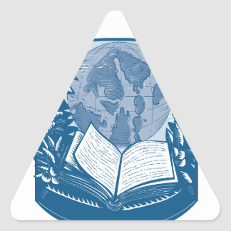Rhododendron Orcas Island Book Woodcut Triangle Sticker