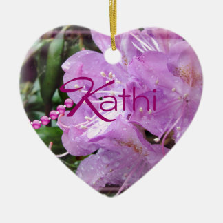 Rhododendron ornament-personalize Double-Sided heart ceramic christmas ornament