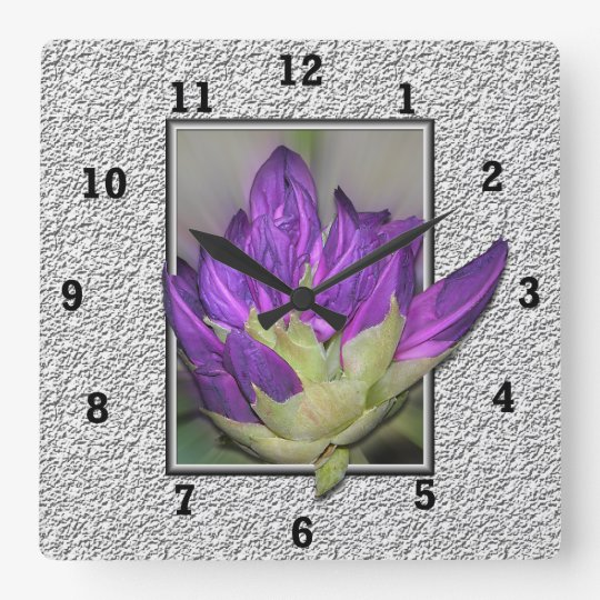 Rhododendron Square Wall Clock