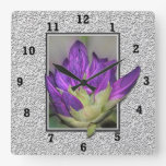 Rhododendron Square Wallclock
