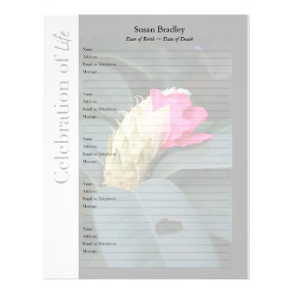 Rhododendron with Heart  Memorial Book Filler Page Letterhead