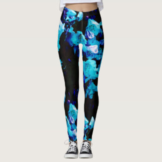 Rhododendrons in Blue Floral Design Leggings