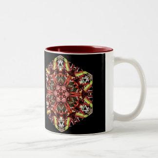 Rhody Seed Pods Kaleidoscope Two-Tone Coffee Mug