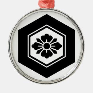 Rhombic flower with Swords in tortoiseshell Metal Ornament