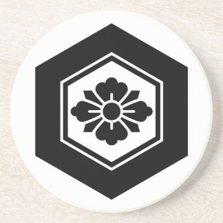 Rhombic flower with Swords in tortoiseshell Sandstone Coaster