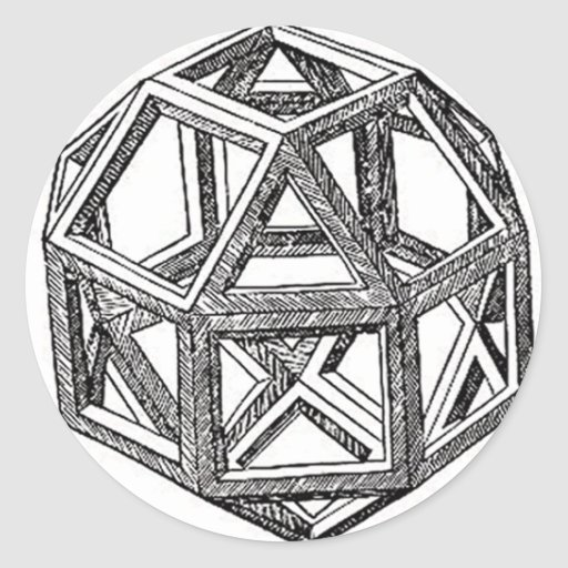 Rhombicuboctahedron, Leonardo da Vinci Pegatinas Redondas