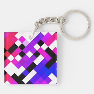 Rhombs pattern Double-Sided square acrylic keychain