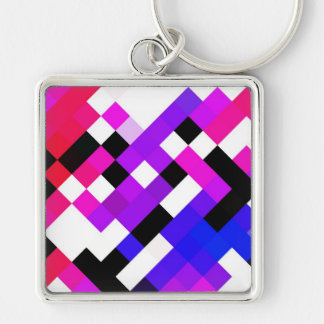 Rhombs pattern Silver-Colored square keychain