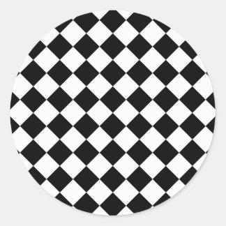 Rhombus blanco y negro pegatina redonda